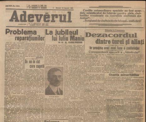 Articolul dedicat de Vaida-Voevod lui Maniu la 50 de ani