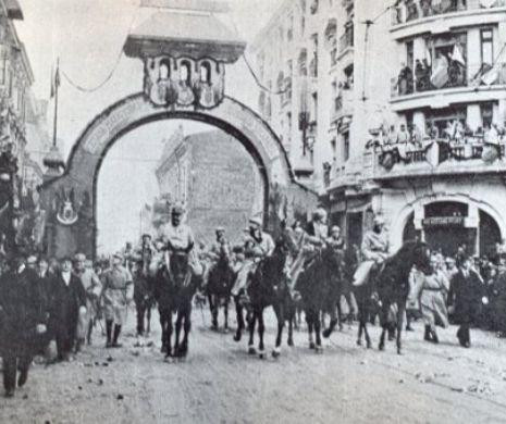 """1 Decembrie 1918. """"Zi de entuziasm, de delir"""". Intrarea triumfală a Regelui Ferdinand și a Reginei Maria în București"""