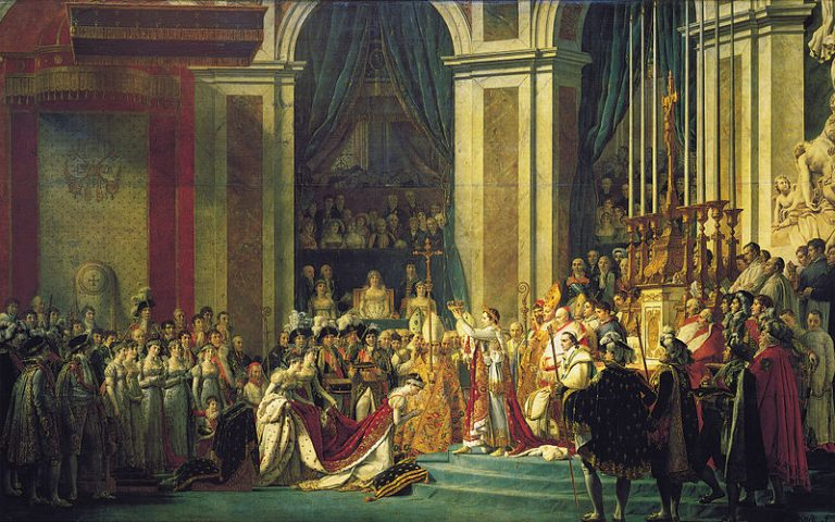 Momentul încoronării lui Napoleon Bonaparte, la Catedrala Nôtre Dame