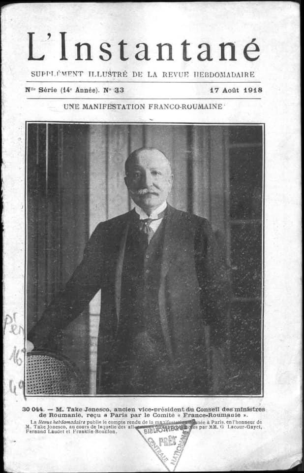 Take Ionescu, pe coperta revistei franceze L'Instantané