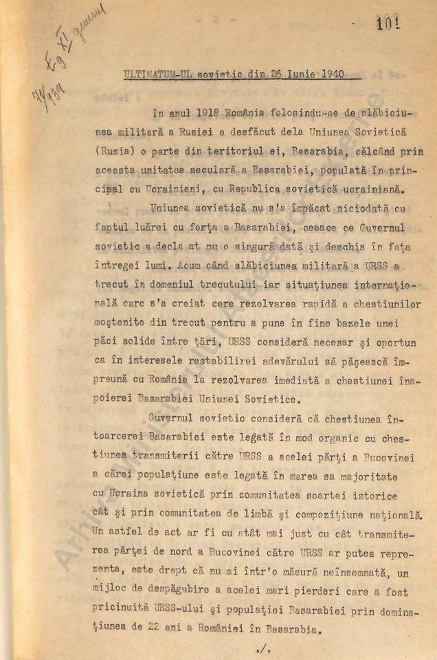 Documente despre agresiunea sovietică asupra României din iunie 1940, când doar Turcia s-a arătat dispusă să ne sprijine