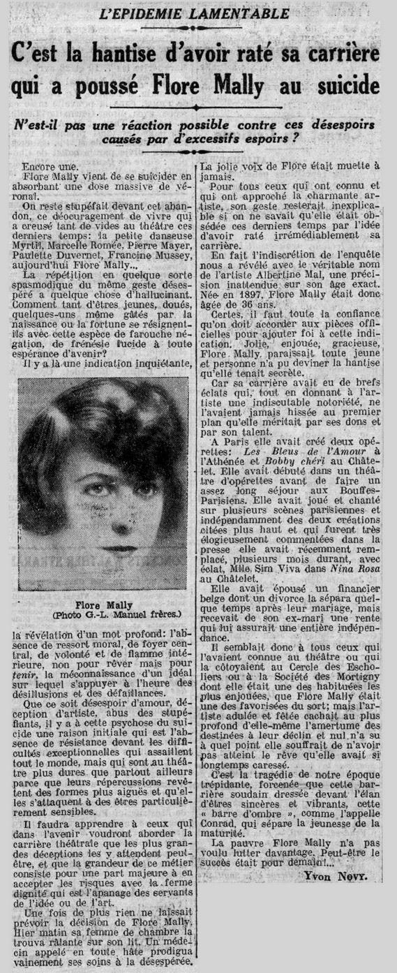 Flore Mally se sinucide vorbind la telefon cu fostul iubit. Scrisoarea de adio