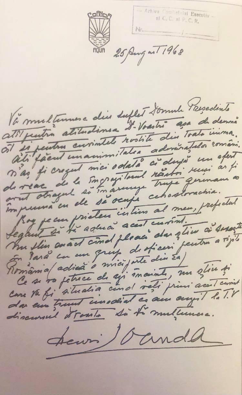 Scrisoarea prin care Henri Coandă îi mulțumește lui Ceaușescu pentru discursul de după invadarea Cehoslovaciei