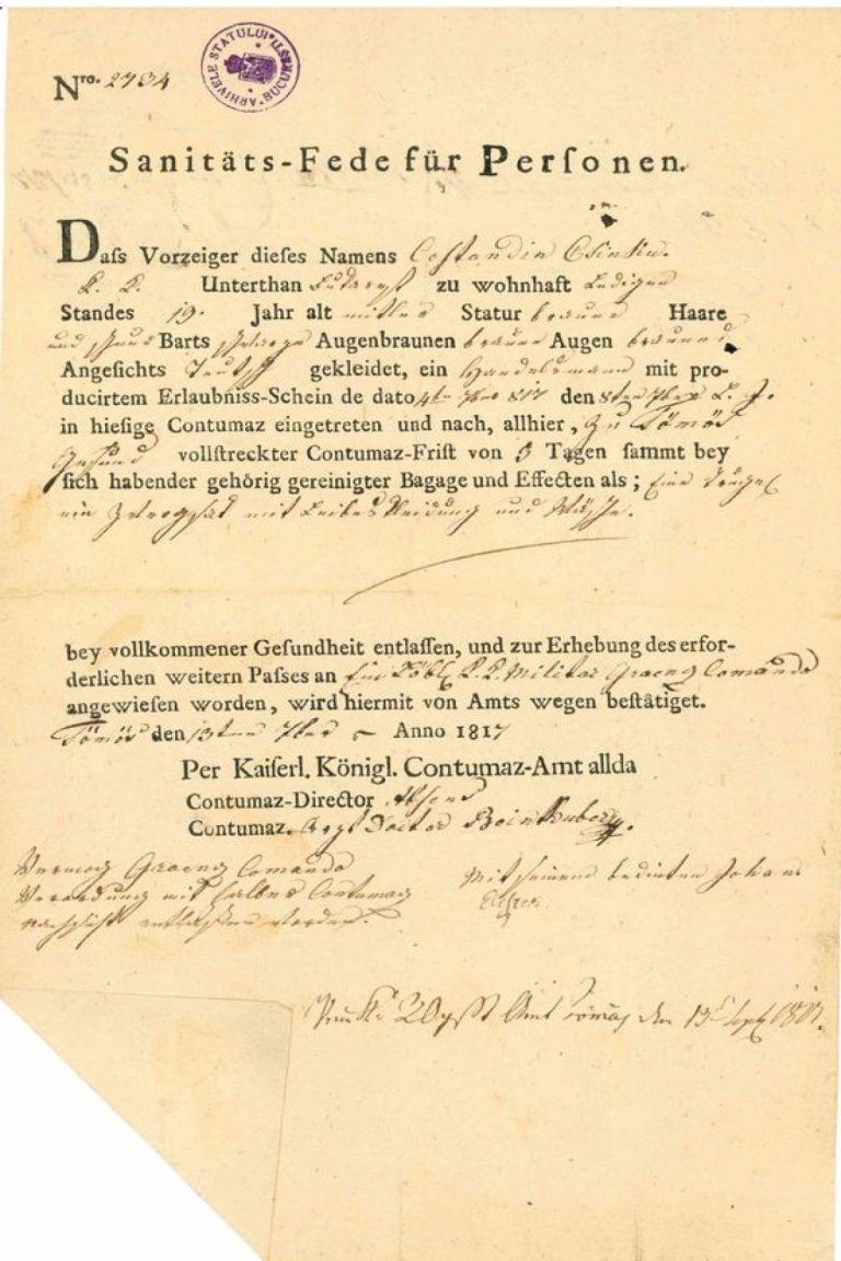 Uriașa avere făcută de negustorul bucureștean Cincu din comerțul cu monede și certificatul că a fost în carantină în timpul epidemiei de holeră