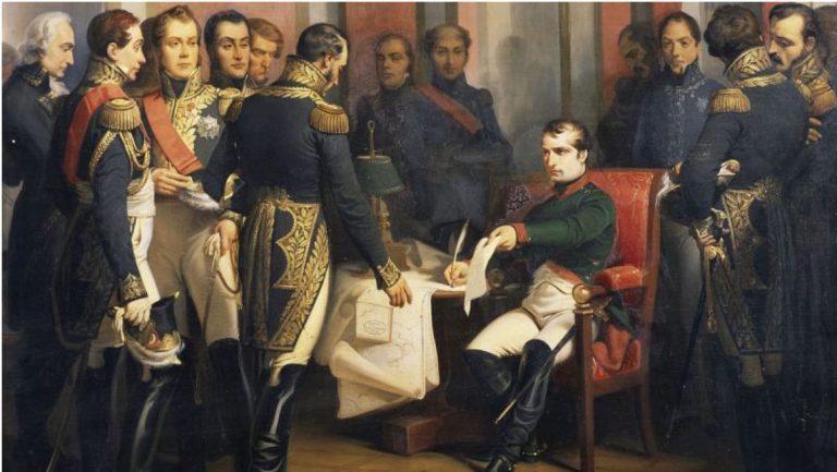 Părăsit de toți, cu ochii în lacrimi, Napoleon abdică